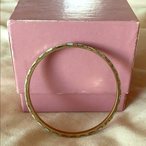 Gold and mint stone bangle bracelet